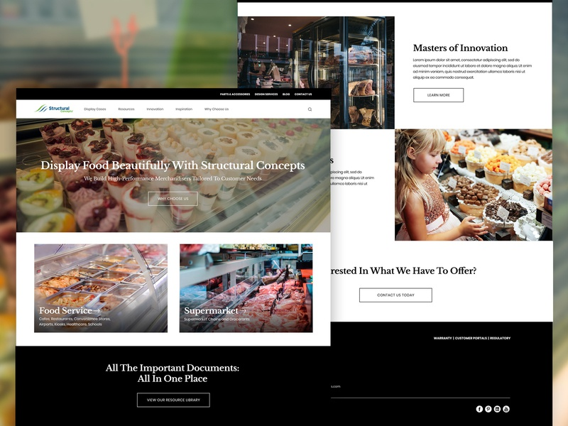 Food Display Case Website - Dark Concept food web design website clean classy dark