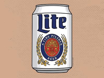 Miller Lite pilsner miller lite miller beer can beer art beer procreate illustration graphic design