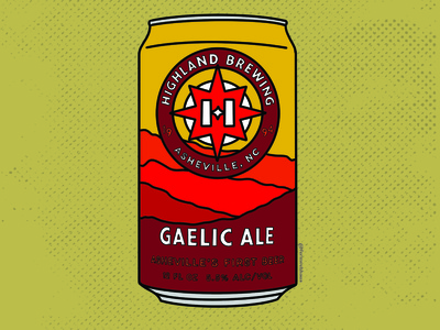 Gaelic Ale - Highland Brewing Beer north carolina north carolina beer asheville beer asheville nc asheville craft brewery craft beer beer can beer art beer procreate illustration graphic design