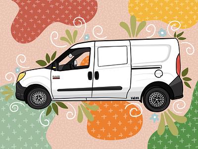 Trip Van Winkle Camper Van car illustration car app promaster van life camper van camper van procreate illustration graphic design