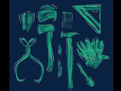 Sketchy Tools graphic tools website web branding design procreate illustration