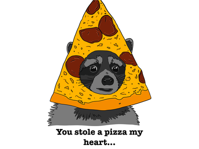 Just Like the Trash Panda You Are card valentines day valentine pizza raccoon branding procreate illustration graphic design