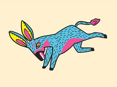 Alebrije Donkey linocut illustration burro donkey oaxaca mexican style alebrije