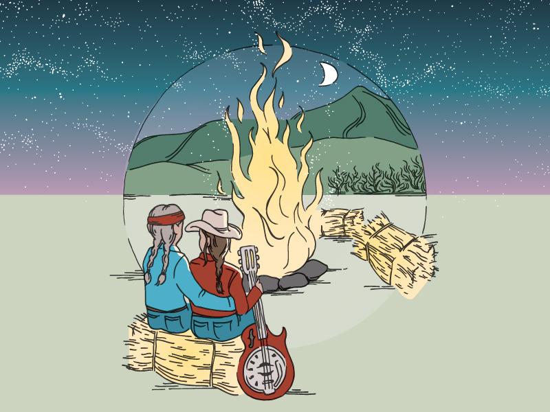 I Bar Ranch 2019 gunnison mountains illustration colorado concert hay bales cowboy bonfire guitar country willie nelson stars summer