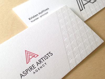 Aspire Artists Agency Card branding logo icon letterpress