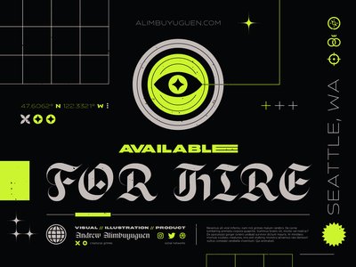 Available for Hire eye layout product design typography illustration branding