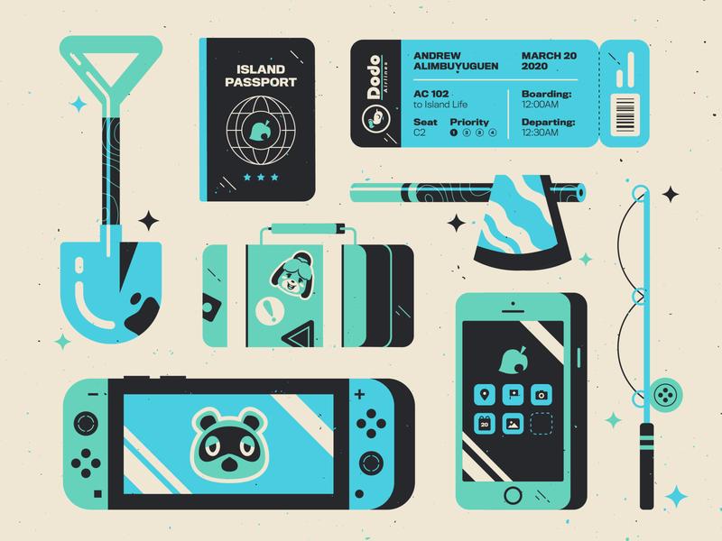 Animal Crossing: New Horizons typography print branding illustration fishing suitcase axe boarding pass passport iphone switch nintendo animalcrossing
