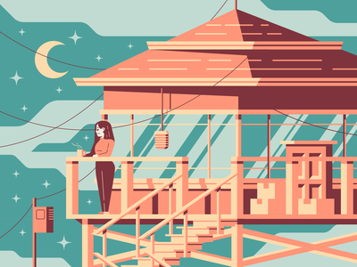 View From Here watchtower boxes girl branding illustration firewatch tower