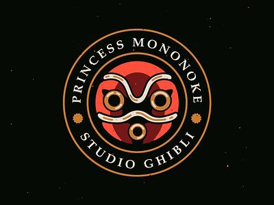 Studio Ghibli: Princess Mononoke badge mononoke mask ghibli logo typography print illustration branding