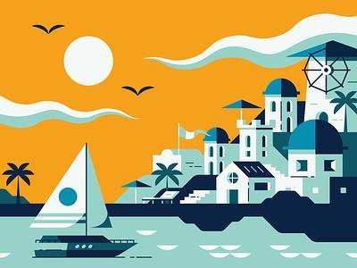 Santorini building print branding vector illustration city town ship boat buildings santorini