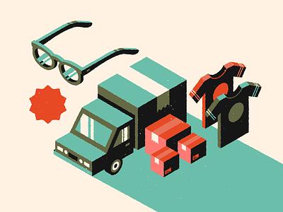 Style Frame grain illustrator texture branding vector illustration shirt glasses boxes box truck