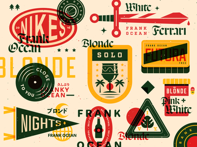 frank ocean blonde branding illustration typography texture badges music frank ocean