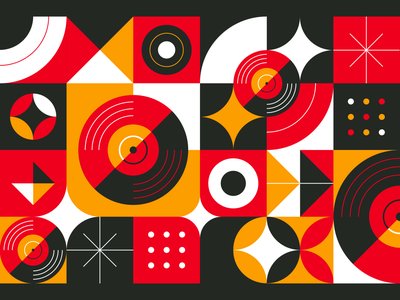 For The Record pattern vinyl record vinyl print illustration branding