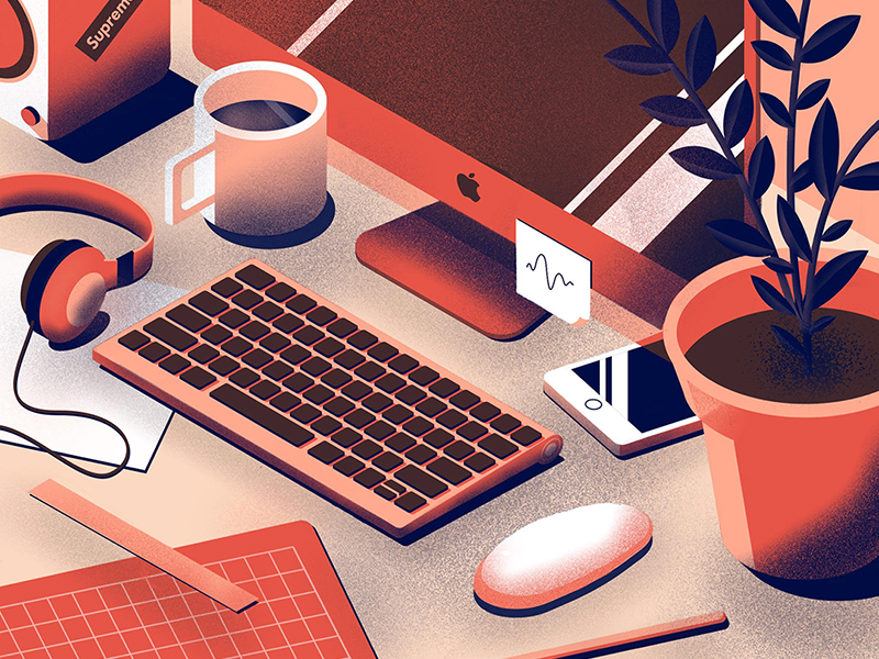 Always Working vector iphone texture plant isometric illustrator illustration desk