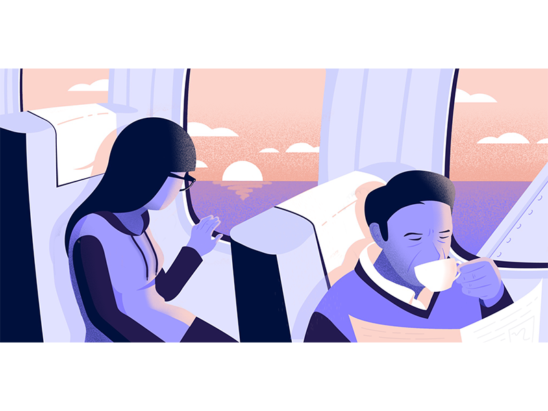Up and Away ✈️ sunset people person reading illustrator vector illustration airplane