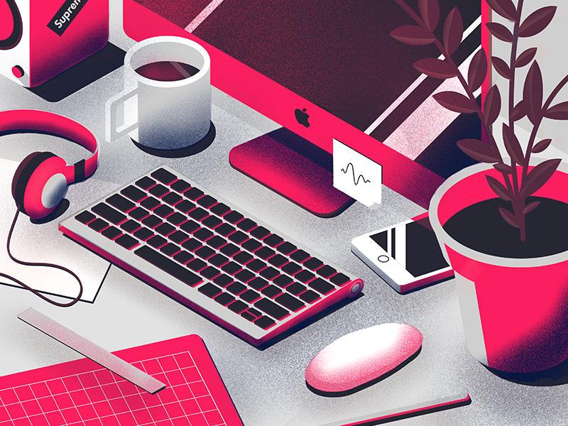 Desk Recolor plant illustrator isometric iphone texture vector illustration
