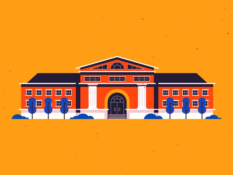 Ol' Museum geometric building flat museum illustrator texture vector illustration