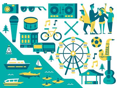 Waterfront Seattle ferriswheel washington event culture music dj building illustrator vector illustration seattle