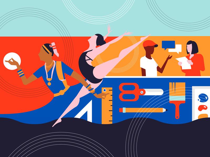 Neighborhood Access to Art Events dancer supplies art people illustration illustrator vector culture