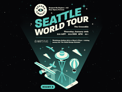 Seattle World Tour: Night 3 seattle 3d pantone grain logo vector lettering typography isometric iphone texture illustrator illustration