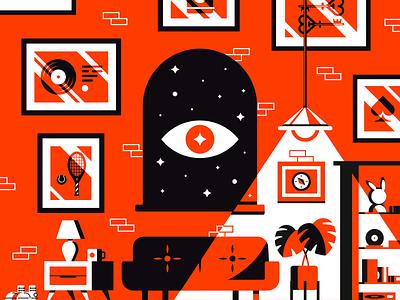 Haunted couch books shelf plant eye apartment house design building illustrator vector illustration