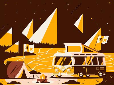 Volks Variant trees tent campfire fire mountains camp van branding design illustrator vector illustration