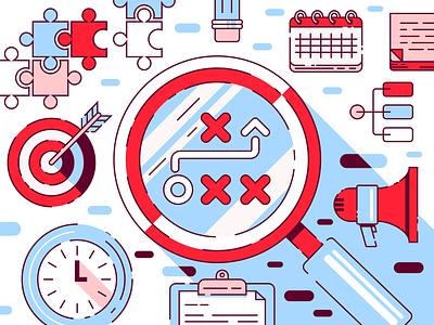 Visual Strategy calendar puzzle bullseye magnifyingglass branding illustrator vector illustration