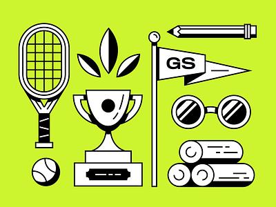 Good Sport branding typography design illustrator vector illustration pencil sunglasses flag leaf ball racket trophy tennis