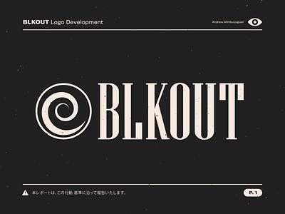 BLKOUT Logo swirl logo type grain lettering branding typography design texture illustrator vector