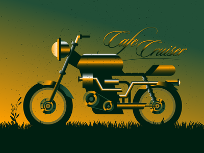 Cafe Cruiser cafecruiser motorcycle grain lettering branding typography texture design illustrator vector illustration