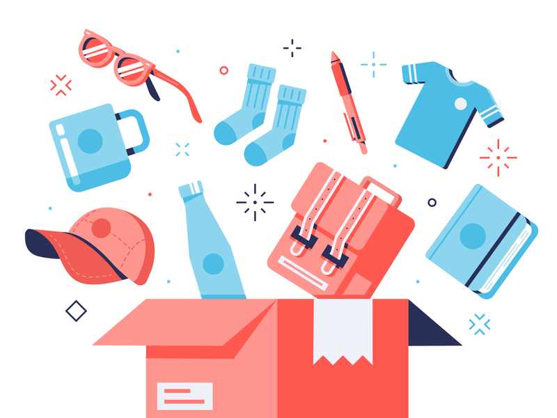 Printfection Illustrations box notebook backpacks bottle hat shirt pen socks mug sunglasses