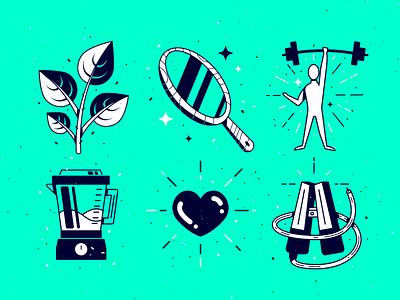 Wellness Illustrations icons icon branding texture design illustrator vector illustration wellness caffeine heart blender strength mirror team