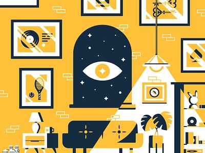 Haunted Variant house eye living room couch brick building branding design illustrator vector illustration