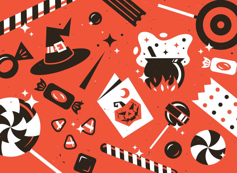 Spooky Season 👻 icon design branding texture illustrator vector illustration holiday lollipop cauldron candy witch halloween