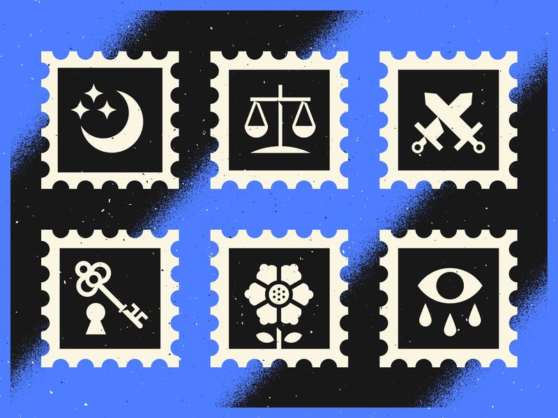 Some Stamps grain branding texture design illustrator vector illustration eye flower key swords scale stars moon