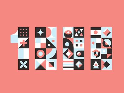 1k Thank you numbers pattern type lettering typography branding design illustrator vector illustration