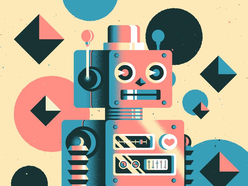 Beep Boop geometric vector flat robot print branding illustration