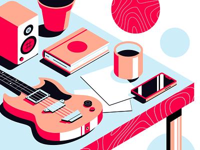 Table Top speaker book cup phone isometric guitar vector print illustration branding