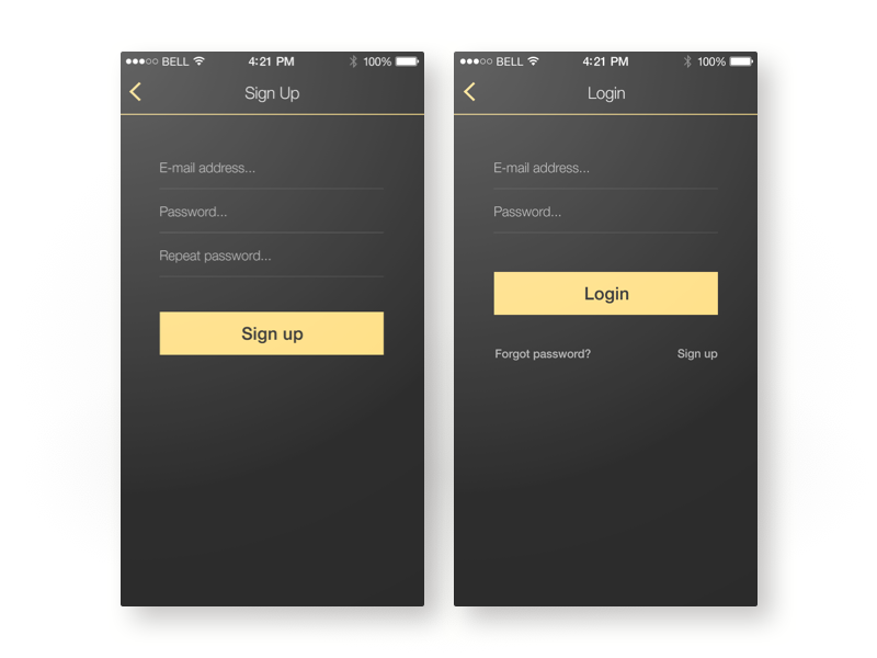 Sing Up And Login by szop on Dribbble