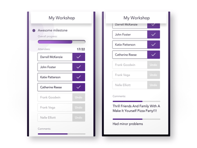 Workshop Lecturer Progress ui workshops mobie ios