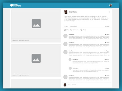 Casemasters Case View caption saas dental social network comments post view ui ux prototype