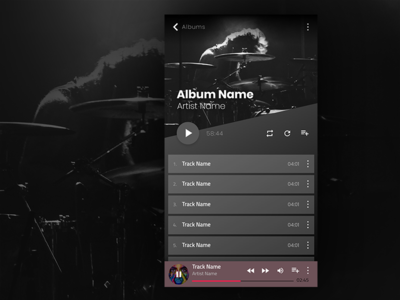 Audio Player interface audio themes app mobile design ux ui player music