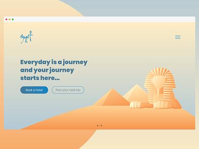 Experiment daily ui travel vector ux illustrations fullscreen slider sky pyramids ui egypt