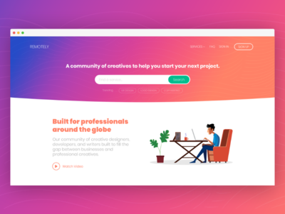 Prototype For Fun debut gradient community network freelancers ux ui prototype daily