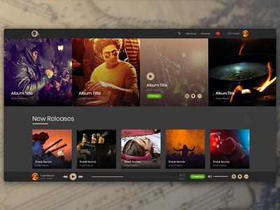 Experimental Shot prototype ux ui desktop web artists music