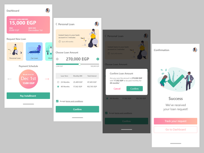 Mobile Loans App prototype ui ux banking bank app ios