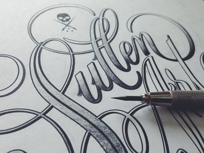 Sullen Style Play lettering scripts type typography sketch pencil cartouche sullen swashes gradients tattoo