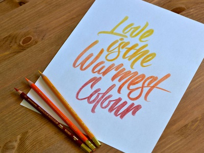 The Warmest Coloured Pencils lettering scripts type typography sketch pencil colored pencils warm cotton bureau