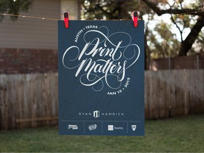 Print Matters Poster lettering scripts poster print print matters mamas sauce austin