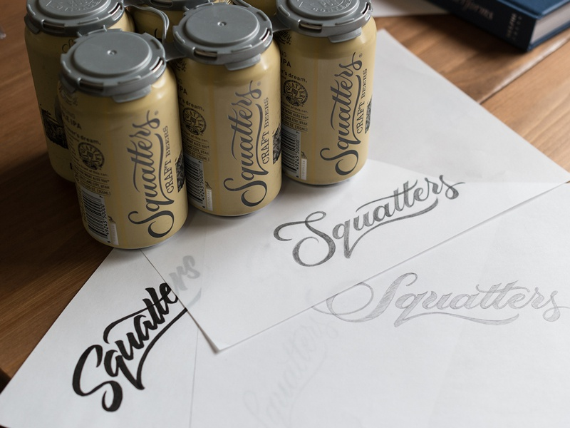 Squatters Cans lettering scripts type typography branding beer squatters packaging